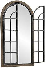 Grand miroir fenêtre volet bois fer 150x135