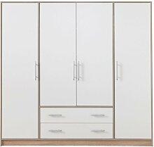Grande armoire blanche 4 portes et 2 tiroirs -