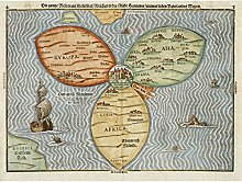 Grande carte du monde 1581 avec trèfle à