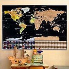 Grande Carte du Monde à Gratter avec Drapeaux