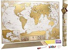 Grande Carte du Monde à Gratter Édition de Luxe