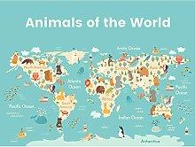 Grande carte du monde imprimée sur toile de