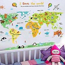 Grande Carte du Monde Stickers Muraux Carte De