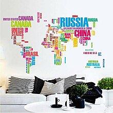 Grande Carte Du Monde Stickers Muraux Lettres