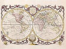 Grande carte du monde vintage imprimée sur toile