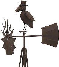 Grande girouette éolienne corbeau à chapeau en