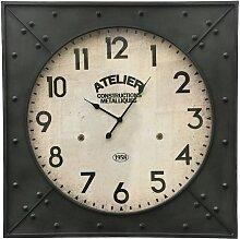 Grande horloge industrielle de gare en fer carré