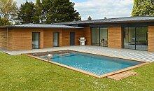 Grande piscine en bois avec escalier haut gamme -