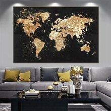 Grande taille carte du monde toile peinture rétro