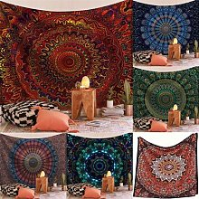 Grande tenture murale indienne Mandala, tapis de