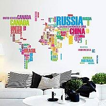 Grandes lettres carte du monde stickers muraux