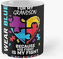 Grandma Grandpa I Wear Blue For My Grandson Autism