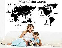 Grands autocollants muraux de carte du monde noir