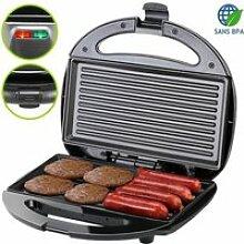 Grill électrique noir 750W appareil à sandwichs