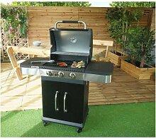 GRILL GARDEN Barbecue a gaz 3 brûleurs - Fonte