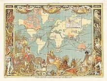 Grue 1886 Grande carte du monde de l'Empire