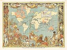 Grue 1886 Poster sur toile Motif carte du monde de