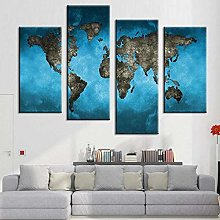 GSDFSD Carte du Monde Bleu Tableau Murale