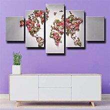 GSDFSD Set De 5 Toiles Murales Imprimées Carte du