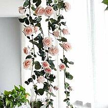 GSDJU Fleurs de rotin artificielles Faux Soie Rose