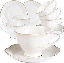 GuangYang 6 Tasse à Café Thé Blanche Porcelaine