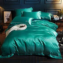 GUANLIDE 4pcs Silk Tencel Bedding Set, Embroidery