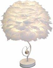 GUANSHAN Lampe de chevet en plumes Abat-jour de