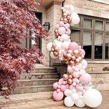 Guirlande de ballons en arc rose Macaron, 120