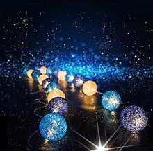 Guirlande de boules de coton avec chaîne, lampe