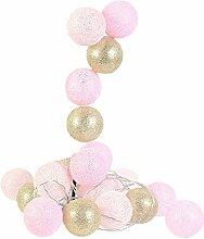 Guirlande de boules de coton LED rose/or guirlande