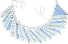 Guirlande de fanions en tissu de 10 m - Bleu et