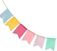 Guirlande de fanions multicolores en tissu pour