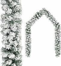 Guirlande de Noel avec neige floquee Vert 20 m PVC