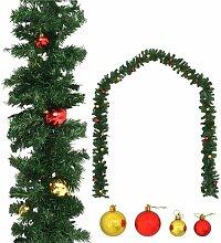 Guirlande de Noël décorée avec boules 20 m
