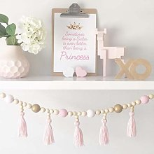 Guirlande de perles en bois, décoration de
