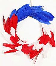 Guirlande de plume bleue et blanche rouge et blanc