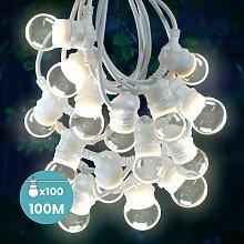 Guirlande Guinguette 100 M Cable Blanc IP65 -