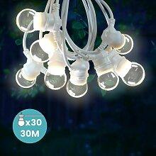 Guirlande Guinguette 30M Cable Blanc IP65 -