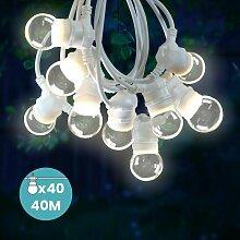 Guirlande Guinguette 40M Cable Blanc IP65