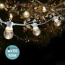 Guirlande Guinguette 50M Cable Blanc - Lampe
