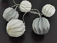 Guirlande intérieure 10 lanternes origamis blanc
