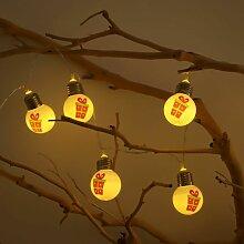 Guirlande LED 10 boules blanc chaud de Noël