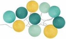 Guirlande led 10 boules - d 6 cm - pastel bleu