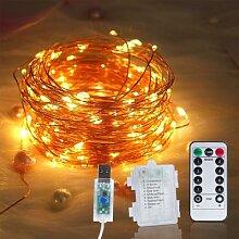 Guirlande lumineuse à piles USB, fil en cuivre,