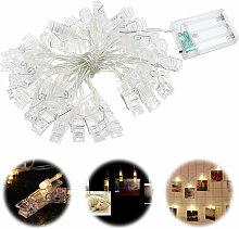 Guirlande lumineuse aclip photo 40 LED blanc chaud