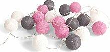 Guirlande lumineuse avec boules de coton roses,