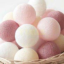 Guirlande lumineuse boule de coton Pastel rose