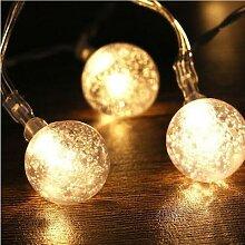 Guirlande lumineuse boule de cristal à piles AA