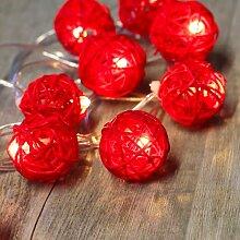 Guirlande Lumineuse Boules Rotin Rouge - Rouge
