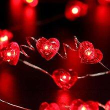 Guirlande Lumineuse Coeur Rouge 13 Feet 50 LED